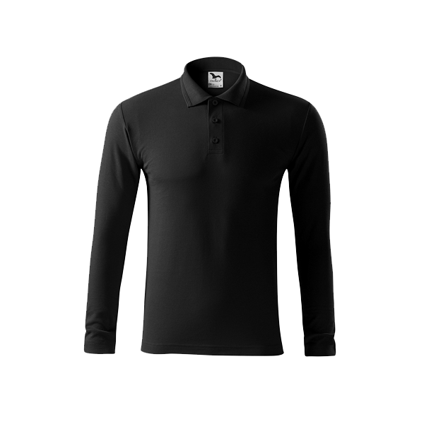 tricou-polo-maneca-lunga-pique-negru